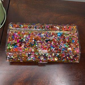 Rainbow Confetti Clutch With Mirror